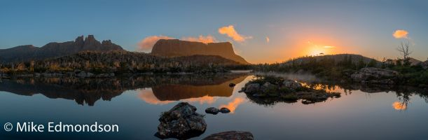 Magnificent sunrise reflections Mt. Geryon & The Acropolis from Lake Elysia