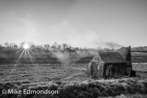 B&W Four Mile Hut sunrise