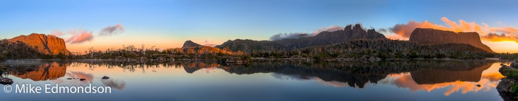 Lake Elysia sunrise with Walled Mt. on left to Mt, Geryon & The Acropolis on right