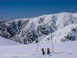 Skiers view The western faces from Alice Rawson Peak