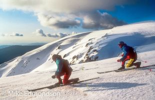 Telemarkers carve the slopes on Watsons Crags